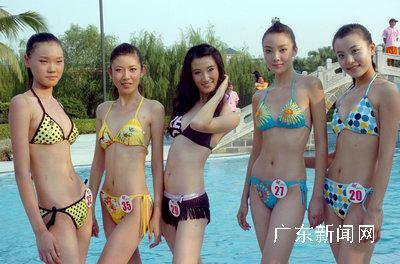 总决赛的美女在广东顺德碧桂园度假村亮相并泳装展示