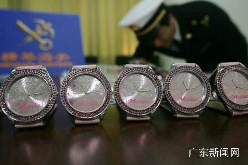 广东珠海横琴海关查获侵权手表五百余只(图)
