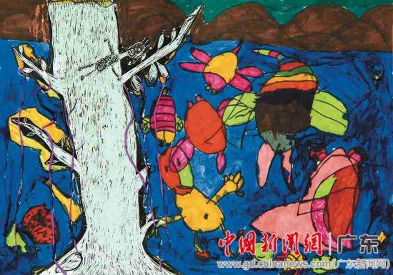 儿童美术组一等奖: 蔡立洋《大树下》图片