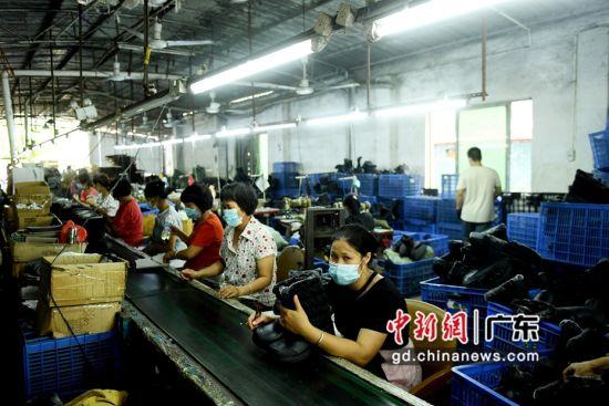 英德九龙金造鞋厂扶贫车间为村民提供89个工作岗位,推动脱贫奔康。姬东摄