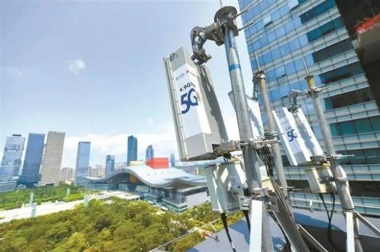 ↑图为位于深圳福田区的5G基站